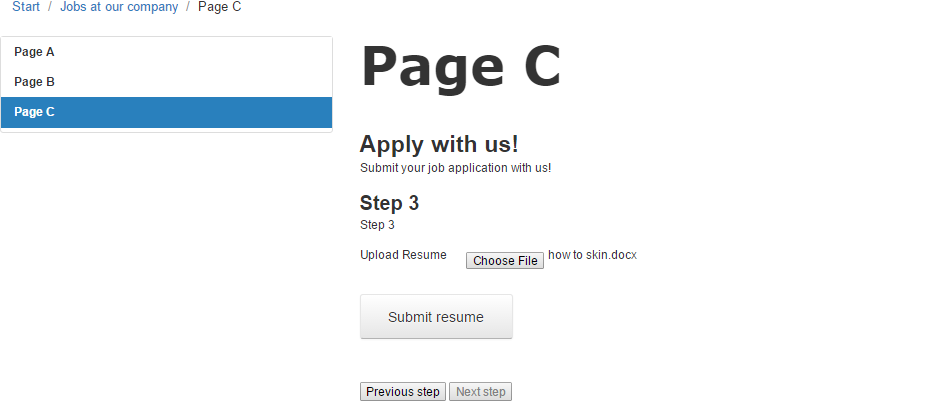 Example Creating A Multi Page Job Application Form