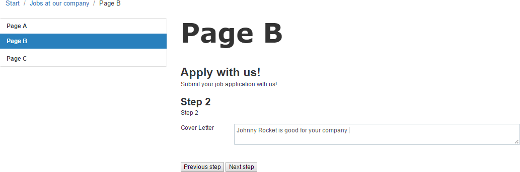 Example: Creating a multi-page job application form