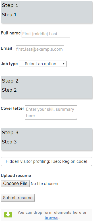 example creating a job application form