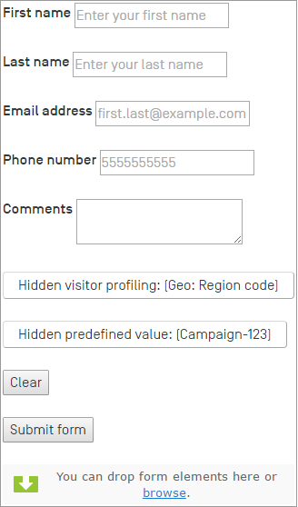 Example: Creating an email form