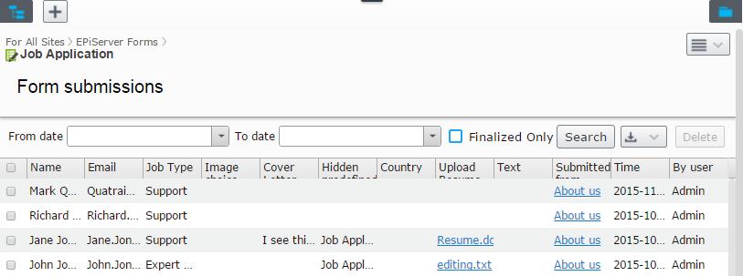 form for job application