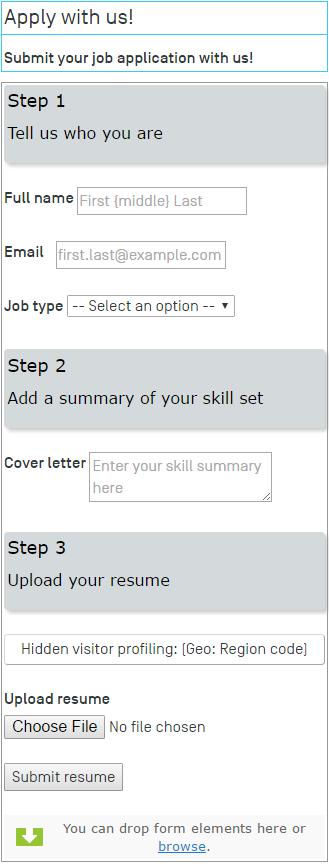 form for job