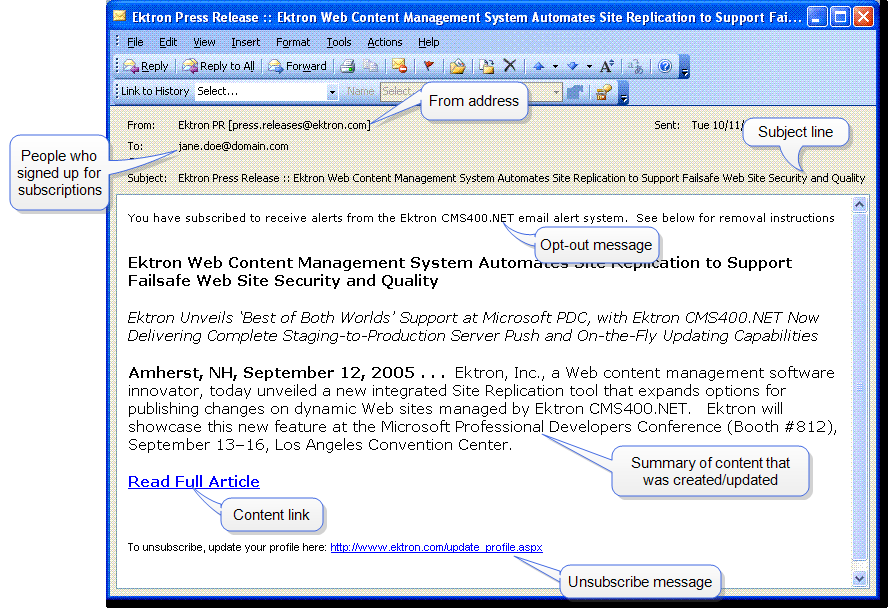 Administering the Web Alert Feature