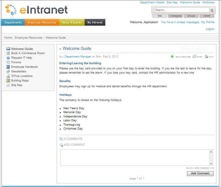 Intranet Sitemap: Employee Resources > Welcome Guide